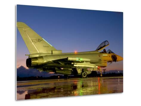 An Italian Air Force Eurofighter Typhoon at Night on Decimomannu Air Base, Italy-Stocktrek Images-Metal Print