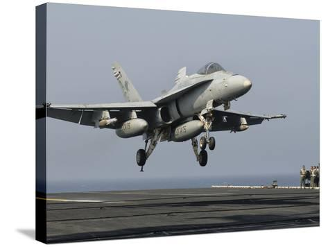A US Navy F/A-18C Hornet Prepares to Land Aboard USS Eisenhower-Stocktrek Images-Stretched Canvas Print