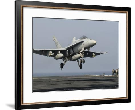 A US Navy F/A-18C Hornet Prepares to Land Aboard USS Eisenhower-Stocktrek Images-Framed Art Print