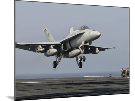 A US Navy F/A-18C Hornet Prepares to Land Aboard USS Eisenhower-Stocktrek Images-Mounted Photographic Print