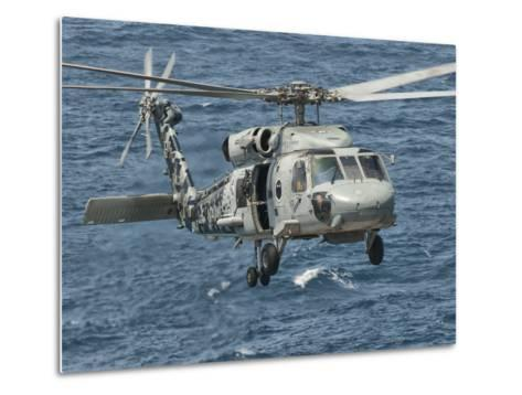 A US Navy SH-60F Seahawk Flying Off the Coast of Pakistan-Stocktrek Images-Metal Print