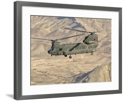 Italian Army CH-47C Chinook Helicopter in Flight over Afghanistan-Stocktrek Images-Framed Art Print