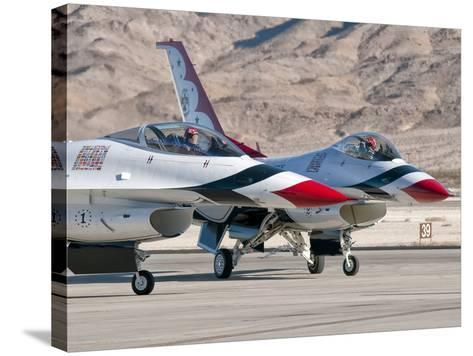 U.S. Air Force Thunderbirds on the Ramp at Nellis Air Force Base, Nevada-Stocktrek Images-Stretched Canvas Print