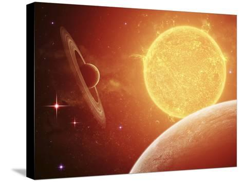 A Planet and its Moon Resisting the Relentless Heat of the Giant Orange Sun Pollux-Stocktrek Images-Stretched Canvas Print