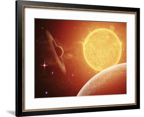 A Planet and its Moon Resisting the Relentless Heat of the Giant Orange Sun Pollux-Stocktrek Images-Framed Art Print