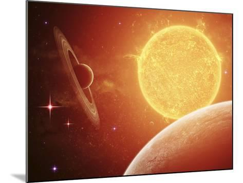 A Planet and its Moon Resisting the Relentless Heat of the Giant Orange Sun Pollux-Stocktrek Images-Mounted Photographic Print