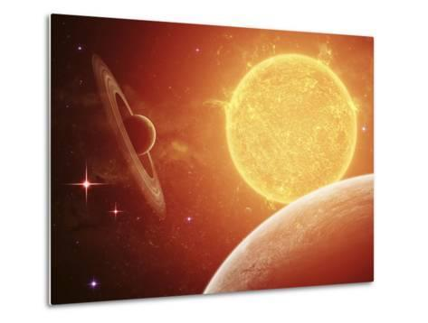 A Planet and its Moon Resisting the Relentless Heat of the Giant Orange Sun Pollux-Stocktrek Images-Metal Print