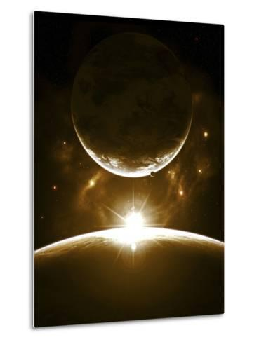 A Bright Morning as the Sunrise over the Planet Breaks the Edge for a Marvelous Sight-Stocktrek Images-Metal Print