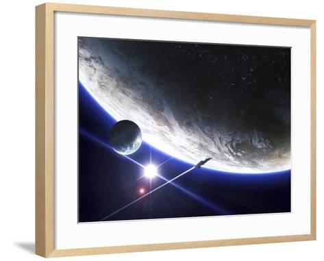 An Alien Patrol Zooms by over their Home Planet-Stocktrek Images-Framed Art Print