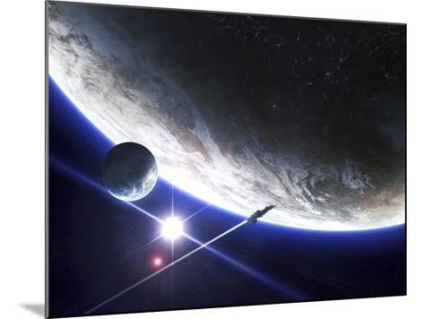 An Alien Patrol Zooms by over their Home Planet-Stocktrek Images-Mounted Photographic Print