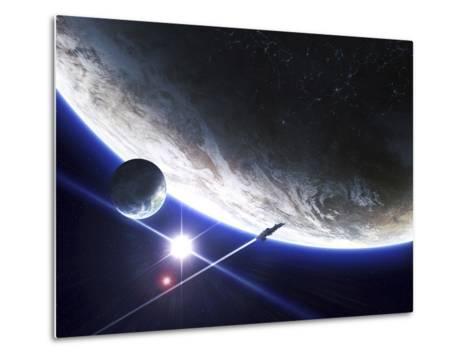 An Alien Patrol Zooms by over their Home Planet-Stocktrek Images-Metal Print