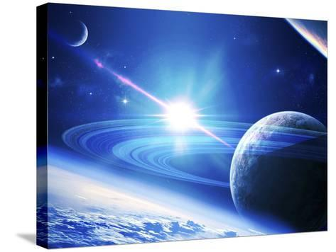 A View of a Planet as it Looms in Close Orbit and with Rings So Close You Can Almost Touch Them-Stocktrek Images-Stretched Canvas Print