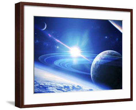 A View of a Planet as it Looms in Close Orbit and with Rings So Close You Can Almost Touch Them-Stocktrek Images-Framed Art Print