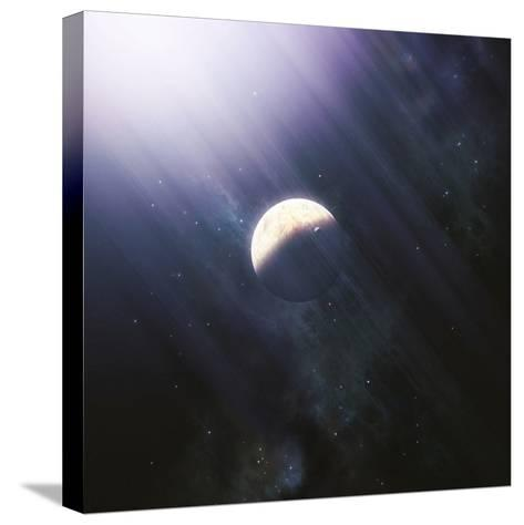 A Lonely Planet and its Moon Float Quietly Within the Bright Blue Rays of its Blue HypergiantParent-Stocktrek Images-Stretched Canvas Print