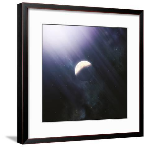 A Lonely Planet and its Moon Float Quietly Within the Bright Blue Rays of its Blue HypergiantParent-Stocktrek Images-Framed Art Print