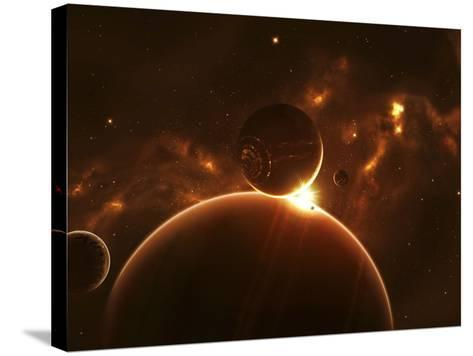 Artist's Concept of an Extraterrestrial World and its Various Moons-Stocktrek Images-Stretched Canvas Print