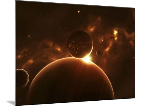 Artist's Concept of an Extraterrestrial World and its Various Moons-Stocktrek Images-Mounted Photographic Print