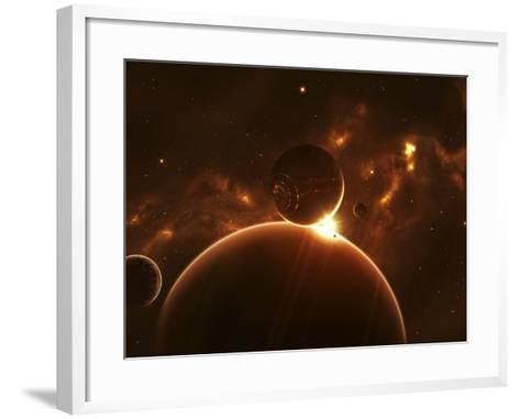 Artist's Concept of an Extraterrestrial World and its Various Moons-Stocktrek Images-Framed Art Print