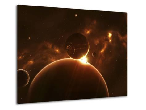 Artist's Concept of an Extraterrestrial World and its Various Moons-Stocktrek Images-Metal Print