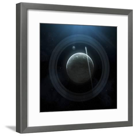 Illustration of a Simple Planet and its Ring System-Stocktrek Images-Framed Art Print