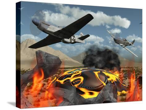 American P-51 Mustang Fighter Planes Destroy a UFO-Stocktrek Images-Stretched Canvas Print