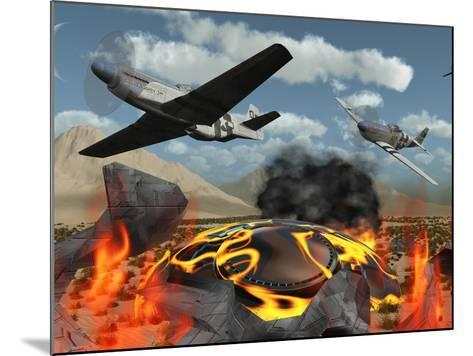American P-51 Mustang Fighter Planes Destroy a UFO-Stocktrek Images-Mounted Photographic Print