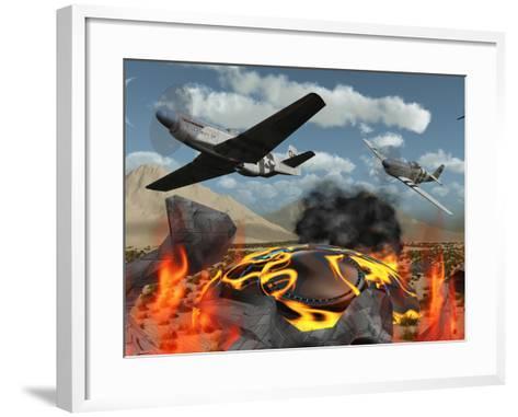 American P-51 Mustang Fighter Planes Destroy a UFO-Stocktrek Images-Framed Art Print