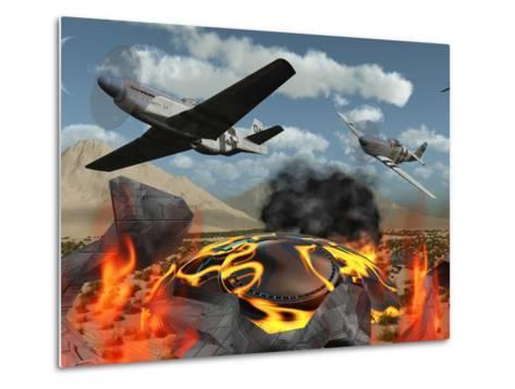 American P-51 Mustang Fighter Planes Destroy a UFO-Stocktrek Images-Metal Print