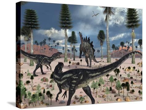 A Pair of Allosaurus Dinosaurs Confront a Lone Stegosaurus-Stocktrek Images-Stretched Canvas Print