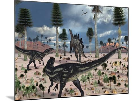 A Pair of Allosaurus Dinosaurs Confront a Lone Stegosaurus-Stocktrek Images-Mounted Photographic Print