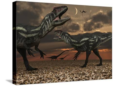 Allosaurus Dinosaurs Stalk their Next Meal-Stocktrek Images-Stretched Canvas Print