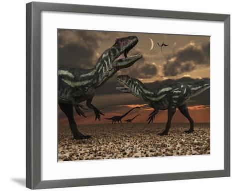 Allosaurus Dinosaurs Stalk their Next Meal-Stocktrek Images-Framed Art Print