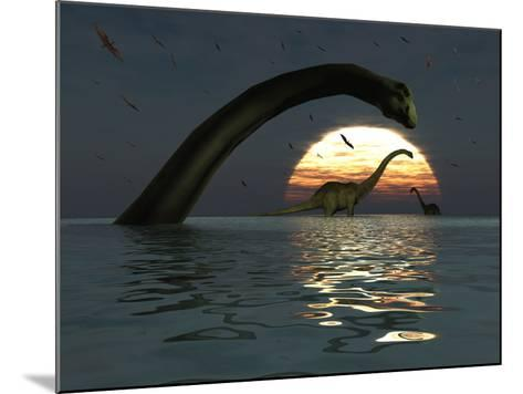 Diplodocus Dinosaurs Bathe in a Large Body of Water-Stocktrek Images-Mounted Photographic Print