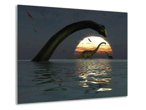 Diplodocus Dinosaurs Bathe in a Large Body of Water-Stocktrek Images-Metal Print