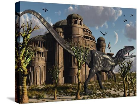 Artist's Concept of a Reptoid Race Whom Co-Existed Alongside the Dinosaurs-Stocktrek Images-Stretched Canvas Print