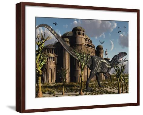 Artist's Concept of a Reptoid Race Whom Co-Existed Alongside the Dinosaurs-Stocktrek Images-Framed Art Print