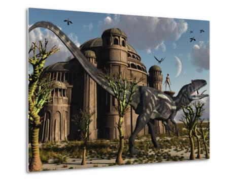 Artist's Concept of a Reptoid Race Whom Co-Existed Alongside the Dinosaurs-Stocktrek Images-Metal Print