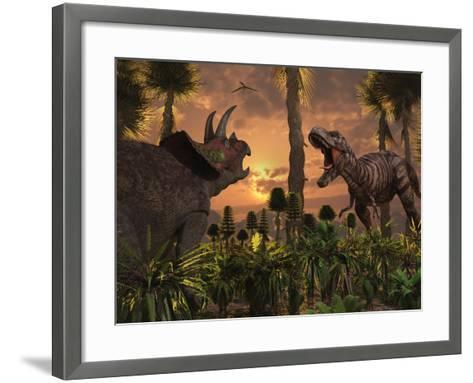 Tyrannosaurus Rex and Triceratops Meet for a Battle to the Death-Stocktrek Images-Framed Art Print
