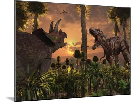 Tyrannosaurus Rex and Triceratops Meet for a Battle to the Death-Stocktrek Images-Mounted Photographic Print