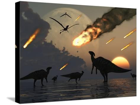 Hadrosaurs Graze Peacefully as Burning Meteors Fall Through the Sky-Stocktrek Images-Stretched Canvas Print