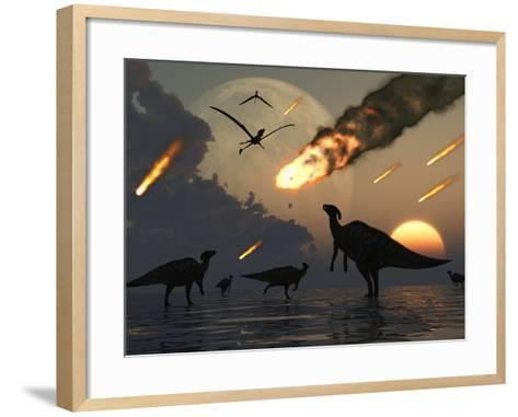 Hadrosaurs Graze Peacefully as Burning Meteors Fall Through the Sky-Stocktrek Images-Framed Art Print