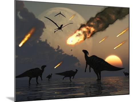 Hadrosaurs Graze Peacefully as Burning Meteors Fall Through the Sky-Stocktrek Images-Mounted Photographic Print