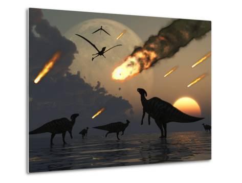 Hadrosaurs Graze Peacefully as Burning Meteors Fall Through the Sky-Stocktrek Images-Metal Print