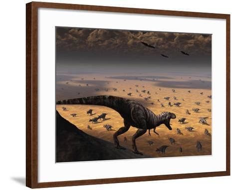 A Lone T. Rex Looks Down on a Large Herd of Triceratops-Stocktrek Images-Framed Art Print