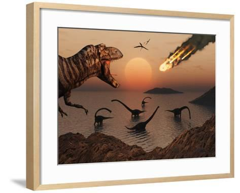A Mighty T. Rex Roars from Overhead as a Giant Fireball Falls from the Sky-Stocktrek Images-Framed Art Print