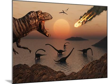 A Mighty T. Rex Roars from Overhead as a Giant Fireball Falls from the Sky-Stocktrek Images-Mounted Photographic Print