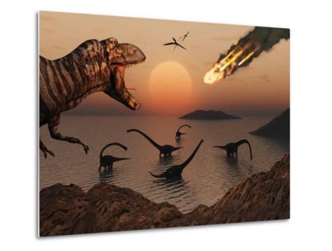A Mighty T. Rex Roars from Overhead as a Giant Fireball Falls from the Sky-Stocktrek Images-Metal Print