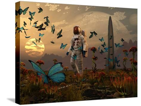 A Astronaut Is Greeted by a Swarm of Butterflies on an Alien World-Stocktrek Images-Stretched Canvas Print
