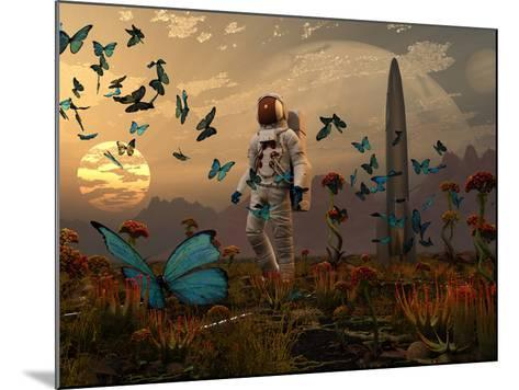 A Astronaut Is Greeted by a Swarm of Butterflies on an Alien World-Stocktrek Images-Mounted Photographic Print