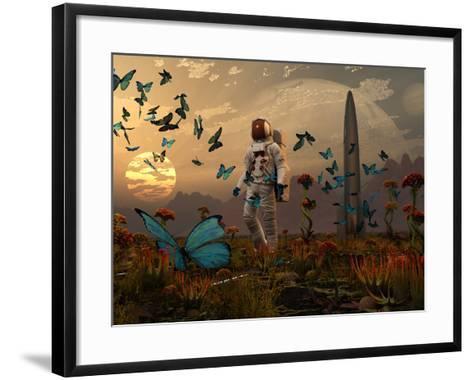 A Astronaut Is Greeted by a Swarm of Butterflies on an Alien World-Stocktrek Images-Framed Art Print